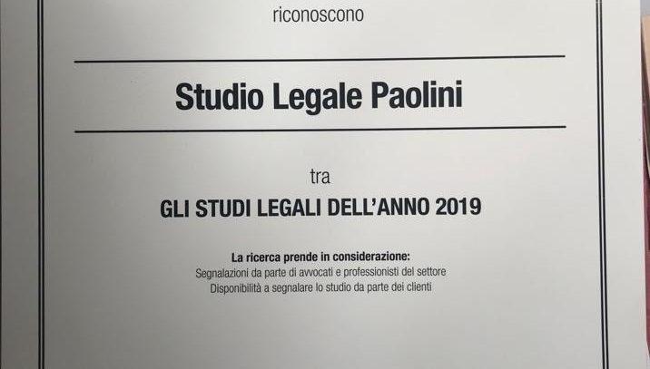Studio Paolini fra gli Studi Legali dell'Anno secondo il Sole 24 Ore
